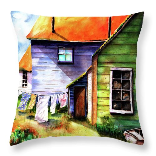 Beach House Throw Pillow featuring the painting Saturday At The Beach by Marti Green
