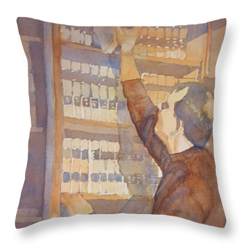 Law Throw Pillow featuring the painting Saturday At The Office by Jenny Armitage