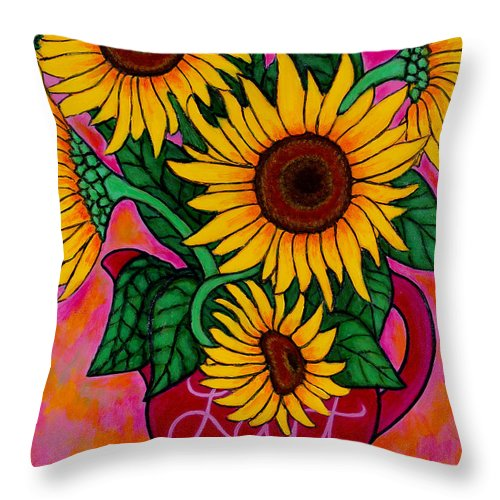 Sunflowers Throw Pillow featuring the painting Saturday Morning Sunflowers by Lisa Lorenz