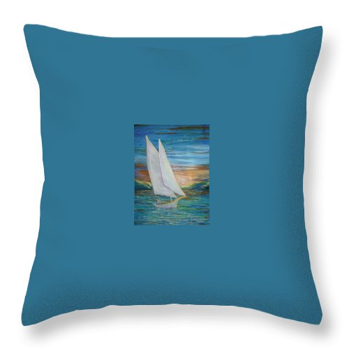 Sailboat Throw Pillow featuring the painting Saturday Sail by Regina Walsh