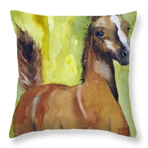 Filly Throw Pillow featuring the painting Saucy by Jean Blackmer