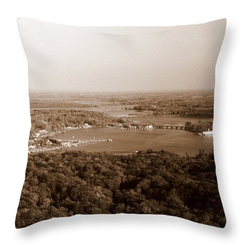 Saugatuck Throw Pillow featuring the photograph Saugatuck Michigan Harbor Aerial Photograph by Michelle Calkins