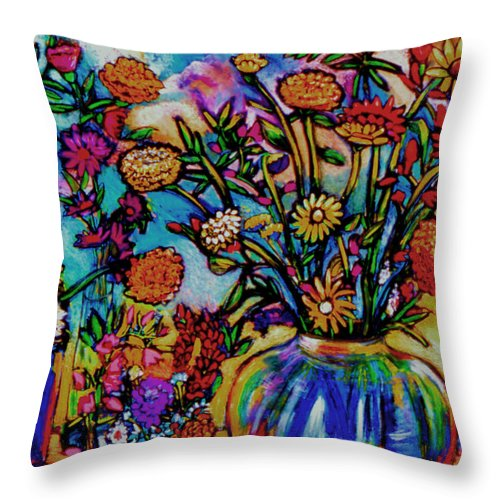 Landscape Throw Pillow featuring the painting Sauvie Island Flowers by Angelina Marino