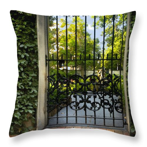 Architecture Throw Pillow featuring the photograph Savannah Gate II by Sharon Foster