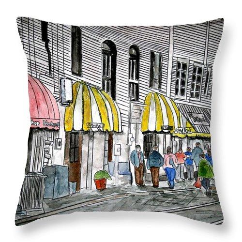Cityscape Throw Pillow featuring the painting Savannah Georgia River Street 2 Painting Art by Derek Mccrea
