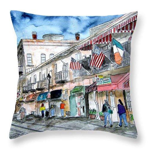 Pen And Ink Throw Pillow featuring the painting Savannah Georgia River Street by Derek Mccrea