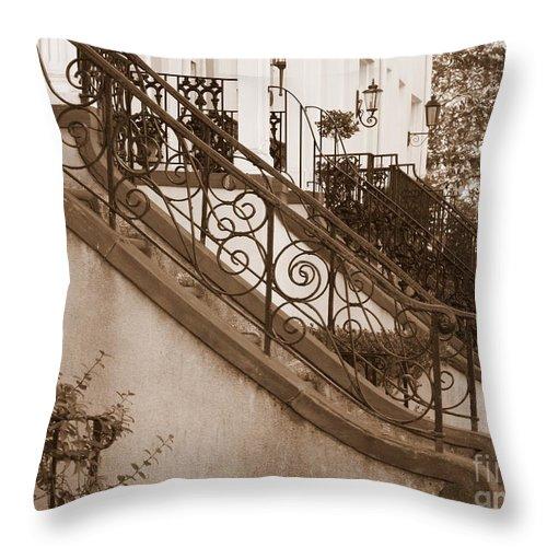 Savannah Throw Pillow featuring the photograph Savannah Sepia - Stoops by Carol Groenen