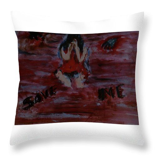 Water Colours Throw Pillow featuring the painting Save Me... by Alfred Kelwins