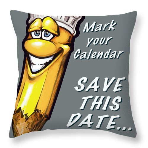 Calendar Throw Pillow featuring the greeting card Save This Date by Kevin Middleton
