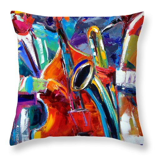 Jazz Painting Throw Pillow featuring the painting Sax And Bass by Debra Hurd