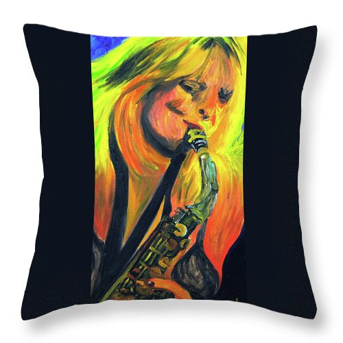 Sax Player Paintings Paintings Throw Pillow featuring the painting Sax Diva by Michael Lee