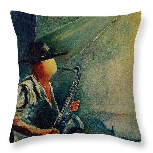 Music Throw Pillow featuring the painting Sax Player by Pol Ledent