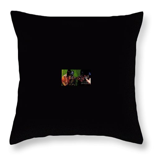 Jazz Throw Pillow featuring the painting Saxophon Players. by Yuriy Shevchuk