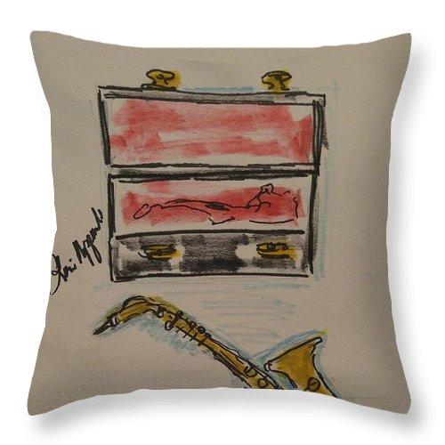 Saxophone Throw Pillow featuring the painting Saxophone by Geraldine Myszenski