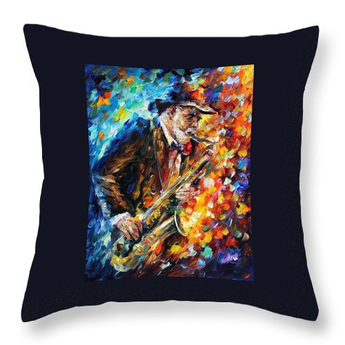 Afremov Throw Pillow featuring the painting Saxophonist by Leonid Afremov