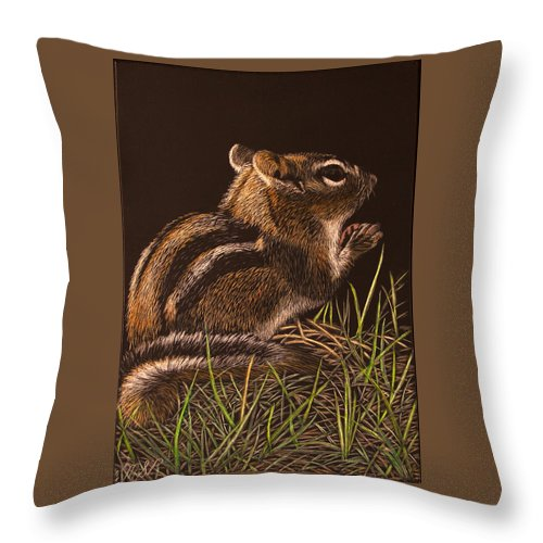 Chipmunk Throw Pillow featuring the painting Say A Prayer For Me by Margaret Sarah Pardy