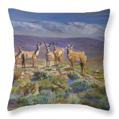Antelope Throw Pillow featuring the painting Say Cheese Antelope by Heather Coen