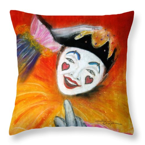 Clowns Throw Pillow featuring the painting Say It With A Smile by Leonardo Ruggieri