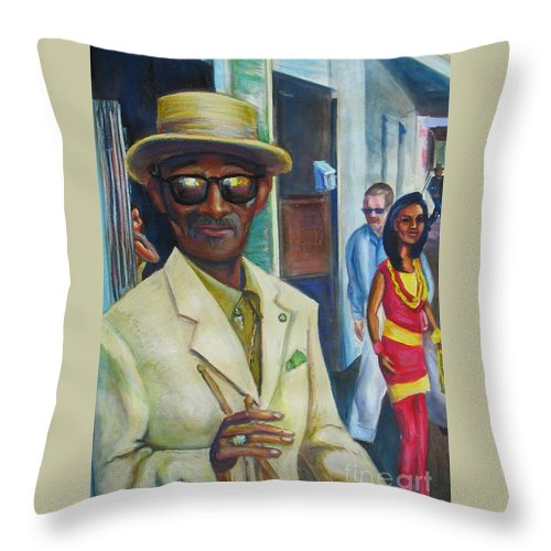 Mixed Media Throw Pillow featuring the mixed media Say Uncle by Beverly Boulet