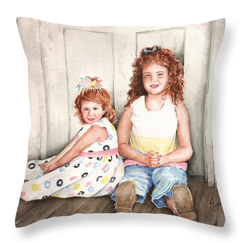Children Throw Pillow featuring the painting Sayler And Tayzlee by Sam Sidders