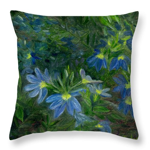 Annuals Throw Pillow featuring the painting Scaevola by FT McKinstry