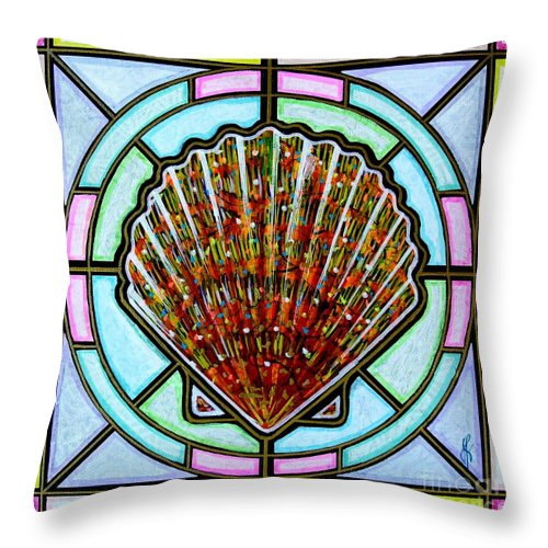 She Shells Throw Pillow featuring the painting Scallop Shell 1 by Jim Harris