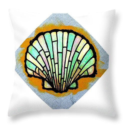 Shell Throw Pillow featuring the painting Scallop Shell by Jim Harris