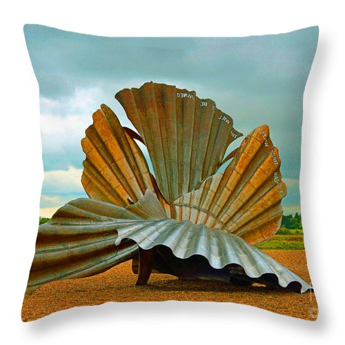Scallop Sculpture Maggi Hambling. Aldeburgh Throw Pillow featuring the photograph Scallop. by Stan Pritchard