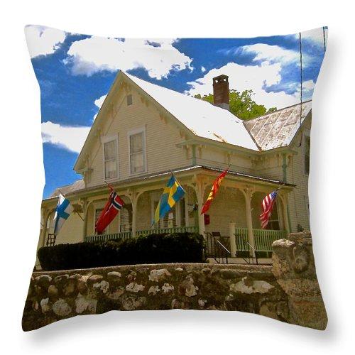 Old House Throw Pillow featuring the photograph Scandinavian Bakery by Elizabeth Tillar