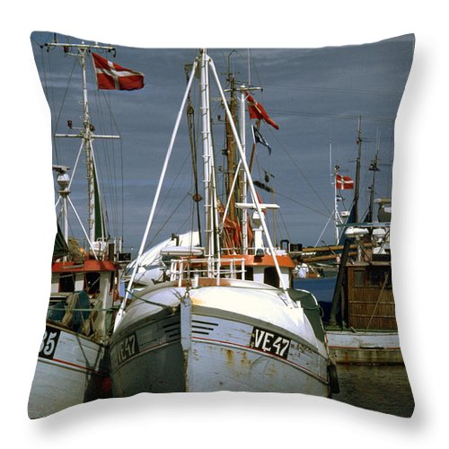 Scandinavian Throw Pillow featuring the photograph Scandinavian Fisher Boats by Flavia Westerwelle