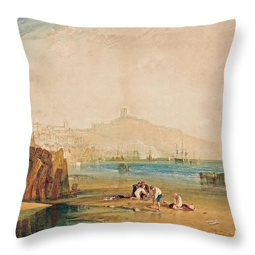 Scarborough Town And Castle Throw Pillow featuring the painting Scarborough Town And Castle Morning Boys Catching Crabs by Grypons Art