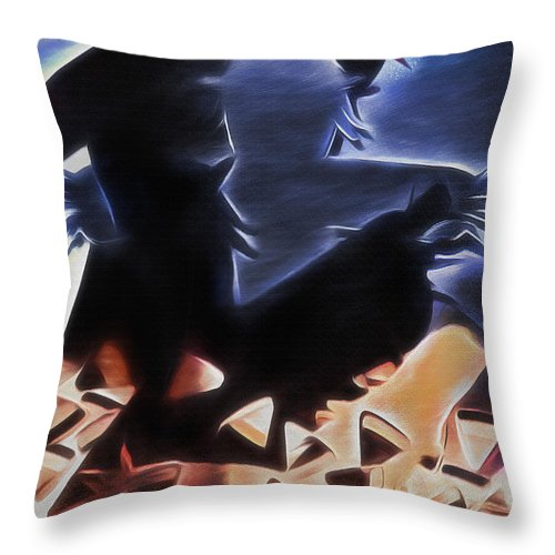 Halloween Throw Pillow featuring the digital art Scarecrows In The Cornfield 2 by Steve Ohlsen