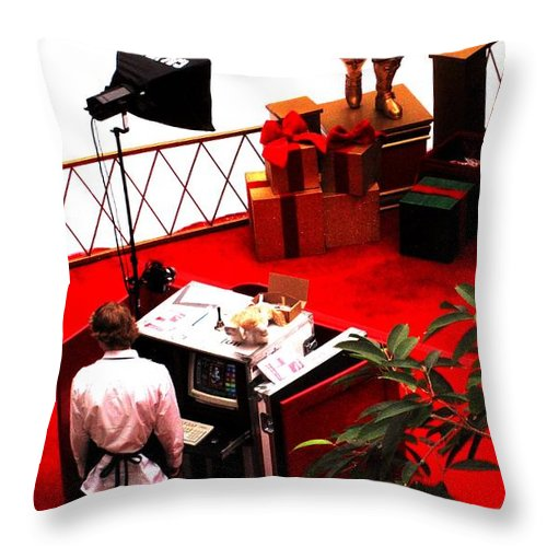 Christmas Throw Pillow featuring the photograph Scarey Old Guy In A Red Suit by Ian MacDonald