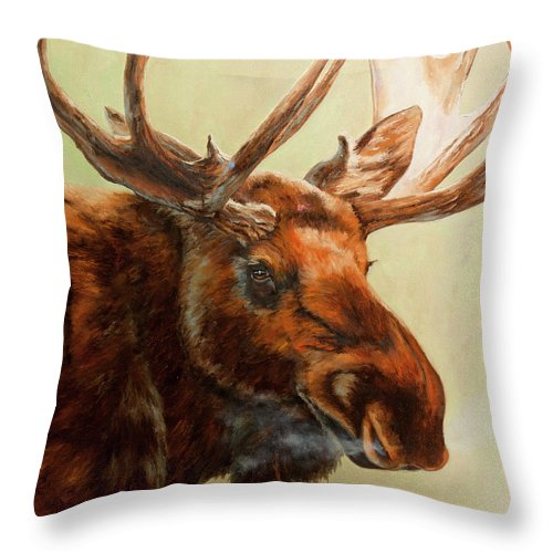 Alaska Art Throw Pillow featuring the painting Scarface by Dan Twitchell