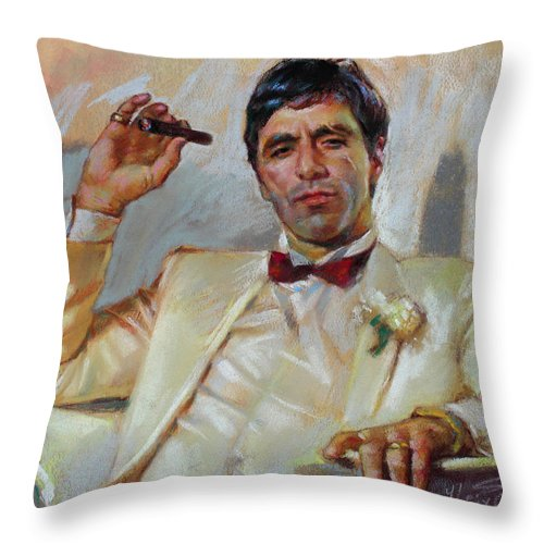 Scarface Throw Pillow featuring the pastel Scarface by Ylli Haruni