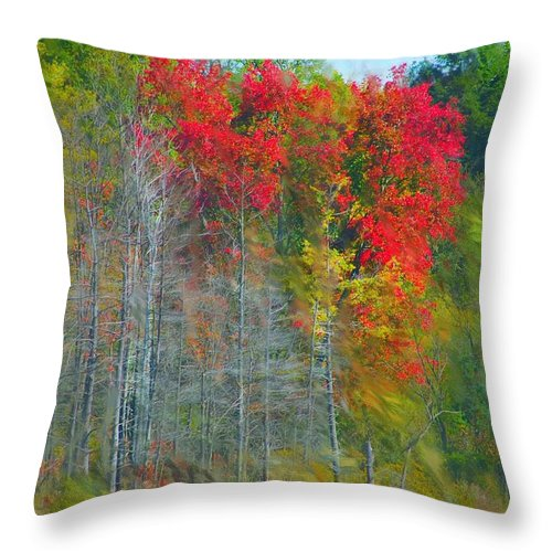 Landscape Throw Pillow featuring the digital art Scarlet Autumn Burst by David Lane