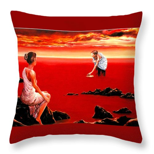 Red Throw Pillow featuring the painting Scarlet Evening In December by Mark Cawood