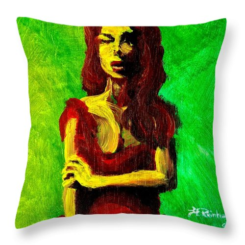 Expressionist Throw Pillow featuring the painting Scarlet by Jason Reinhardt