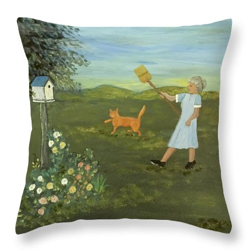 Cat Throw Pillow featuring the painting Scat Cat by Evelyn Skinner