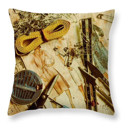 Dress Throw Pillow featuring the photograph Scene From A Fifties Craft Room by Jorgo Photography - Wall Art Gallery
