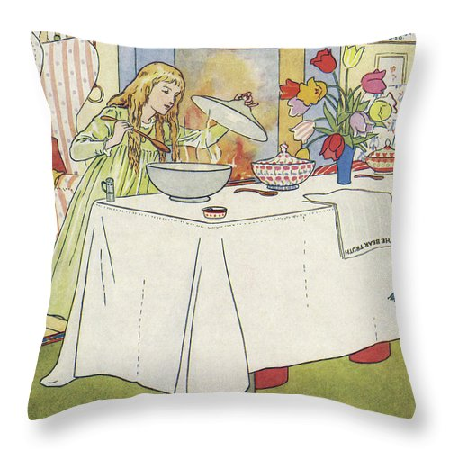 The Three Bears Throw Pillow featuring the drawing Scene From The Story Of Goldilocks And The Three Bears by Leonard Leslie Brooke