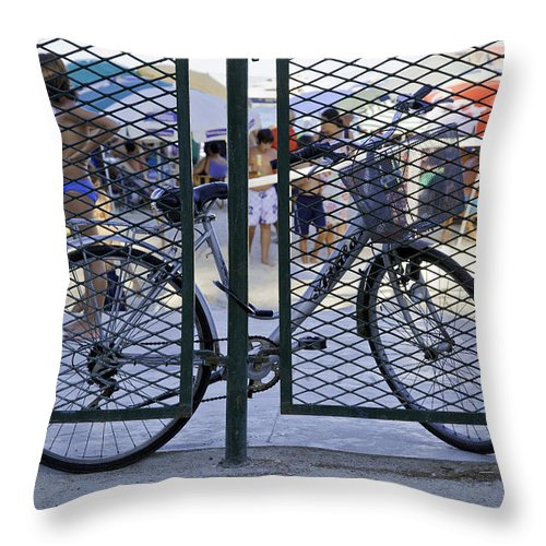 Bicycle Throw Pillow featuring the photograph Scene Through The Gate by Madeline Ellis