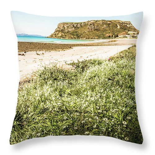 Scenic Throw Pillow featuring the photograph Scenic Stony Seashore by Jorgo Photography - Wall Art Gallery