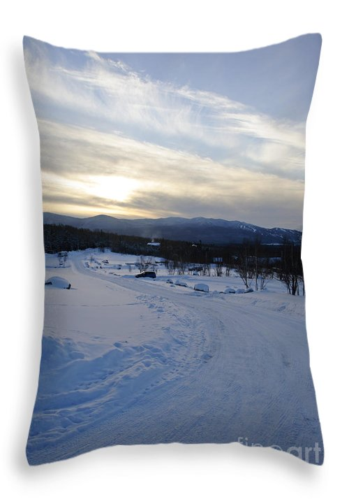 Winter Throw Pillow featuring the photograph Scenic Vista From Marshfield Station In The White Mountains New Hampshire Usa by Erin Paul Donovan