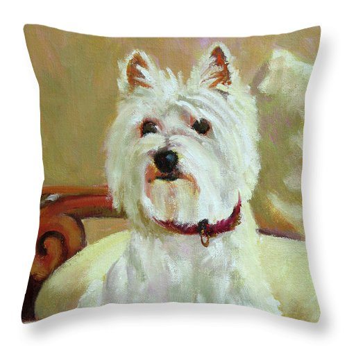 Pet Throw Pillow featuring the painting Schatzie by Keith Burgess