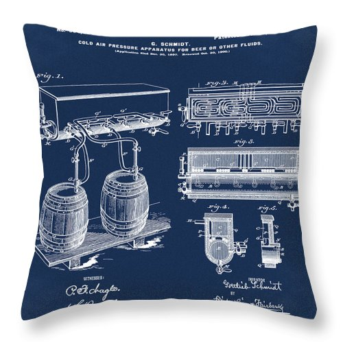 Schmidts Throw Pillow featuring the photograph Schmidts Of Philadelphia Cold Beer Tap In Blue by Bill Cannon