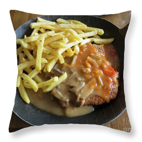 Schnitzel Throw Pillow featuring the photograph Schnitzel With Two Sauces by Louise Heusinkveld