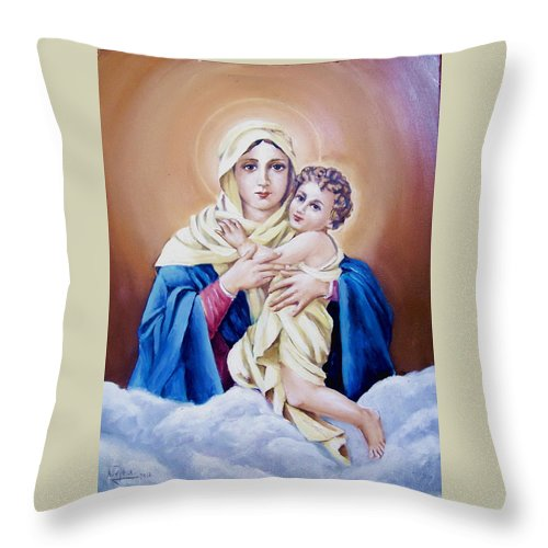 Religious Throw Pillow featuring the painting Schoenstat-tribute by Natalia Tejera