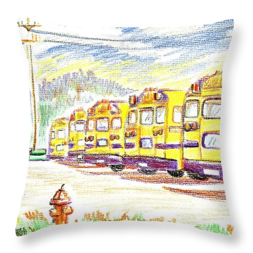 School Bussiness Throw Pillow featuring the mixed media School Bussiness by Kip DeVore