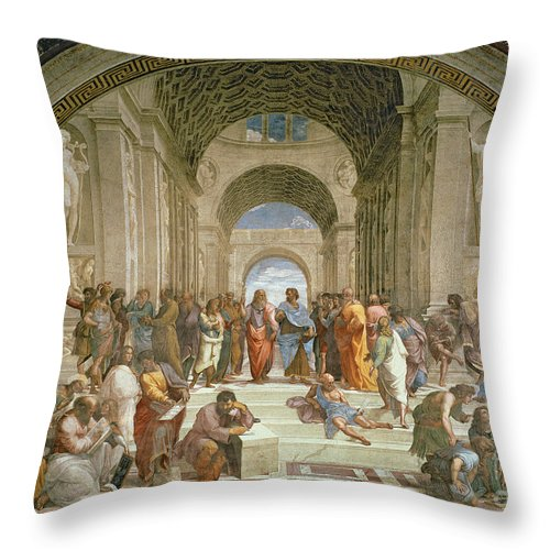 School Throw Pillow featuring the painting School Of Athens From The Stanza Della Segnatura by Raphael